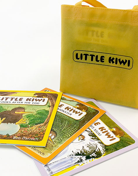 little kiwi gift bag with branded books